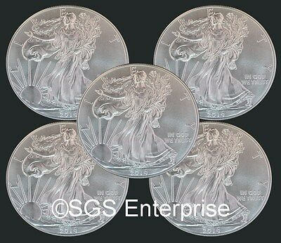 Five BU 2014 American Silver Eagles .999 Fine Silver 5 Troy Ounces 5 Coins