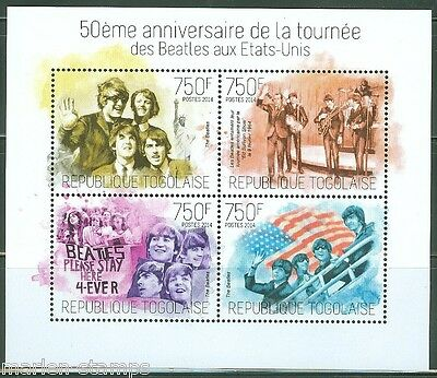 TOGO 2014 50th  ANNIVERSARY THE ARRIVAL OF THE BEATLES IN THE UNITED STATES SHT