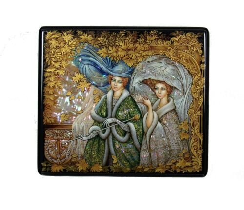 """Russian Lacquer Box """"Ladies on the Stroll"""" #4106"""