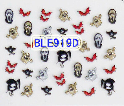 Halloween Glitter Ghost Reaper Scream Mask Red Bat 3D Nail Art Stickers Decals (Red Glitter Halloween Nails)