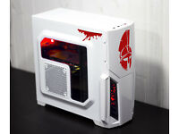 White Spartan Gaming PC Fast Performance Intel Quad Core 8GB GTX 570 RED LED Win10 Custom Backplate