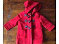 GAP Red Woollen Duffele Coat - Age 2 years