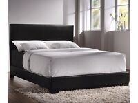BLACK OR BROWN PU LEATHER BED FRAM AND MATTRESS DOUBLE/KING SIZE CASH ON DELIVERY