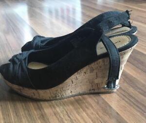 Wedge heels size 6 with adjustable back