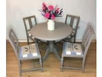 Shabby Chic, Farmhouse, French Country Dining Set, Table with 4 Chairs