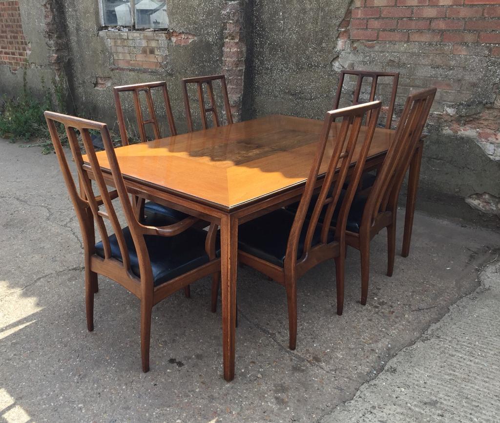 John Stuart Inc Ny Mid Century Extending Dining Table 6 Chairs