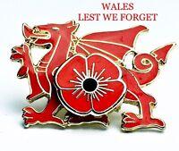 Poppy Badge Wales Welsh Dragon Lapel Pin Medal Army Ww1 Ww2. -  - ebay.co.uk