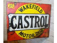 Wakefield Castrol motor oil double sided enamel sign advertising mancave garage metal vintage