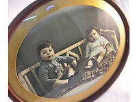 Collectable Edwardian Oval Framed Photograph of 2 Children (WH_1799)