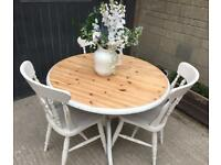Farmhouse pine table & 3 chairs