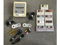 Super Nintendo (SNES) 9 Games, 2 Controllers, Power Pack, Scart Cable, Tools
