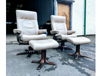 Pair of Ekornes style Scandinavian swivel recliner chairs DELIVERY AVAILABLE