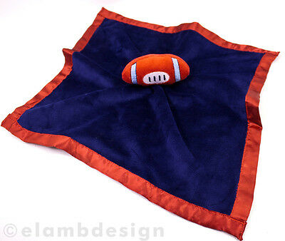 Baby Essentials Football Plush Security Blanket Rattle Navy Blue Red Minky Lovey for sale  Shipping to India