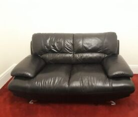 LEATHER SOFA SET OF TWO, Black COLOUR