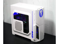 White Jedi Gaming PC Fast Performance Intel Quad Core 8GB GTX 570 Blue LED Win10 Custom Backplate