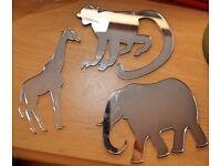 Acrylic Shatterproof Animal Shaped Mirrors Elephant/Monkey/Giraffe