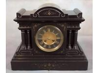 French 8-day polished slate mantle clock