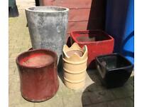 Garden pots x5