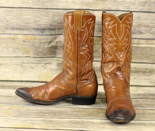 Justin, Cowboy, Boots, Brown, Leather, Wing, Tips, Leaf, Mens, Size, 9, D, Distressed, VTG