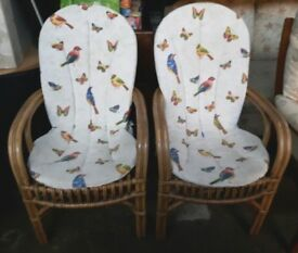 Pair of Wicker Armchairs with Seat Pads