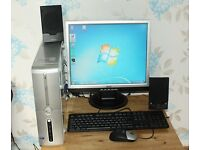 "Dell PC Desktop Tower Set with 19"" Monitor WIFi Speakers Keyboard Mouse"