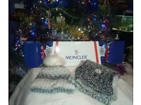 Brand new MONCLER White/Grey Scarf and hat gift set