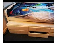 Single bed with bunker under drawers