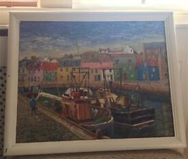 Oil painting of Pittenweem Harbour