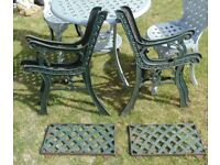 (#804) 2x vintage pair of garden cast iron bench chair ends (Pick up only, Dy4 area)