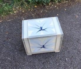 Cream & blue-grey flowered shabby chic style storage box