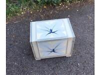 Cream & blue-grey flowered shabby chic style storage box