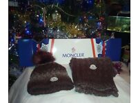 Brand new MONCLER Burgundy Scarf and hat gift set