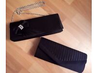 2 x BLACK CHRISTMAS PARTY EVENING CLUTCH BAG