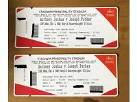 Anthony Joshua vs Joseph Parker Cardiff principality stadium boxing tickets x2 great view