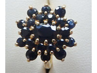 Sapphire ring, beautiful deep blue cluster, 18ct hallmarked gold ring