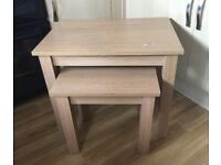 Set of 2 used oak coloured rectangular nest of tables. ONLY £5! Collect from Crewkerne asap