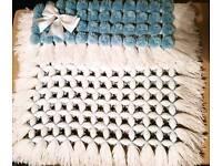 Handmade Pom pom pram blankets