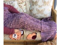 Fish scale knitted blanket, mermaid design. New.