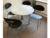Small marble top kitchen table and 4 chairs