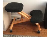 Wooden Kneeling Orthopaedic Stool Ergonomic Posture Chair - Grey