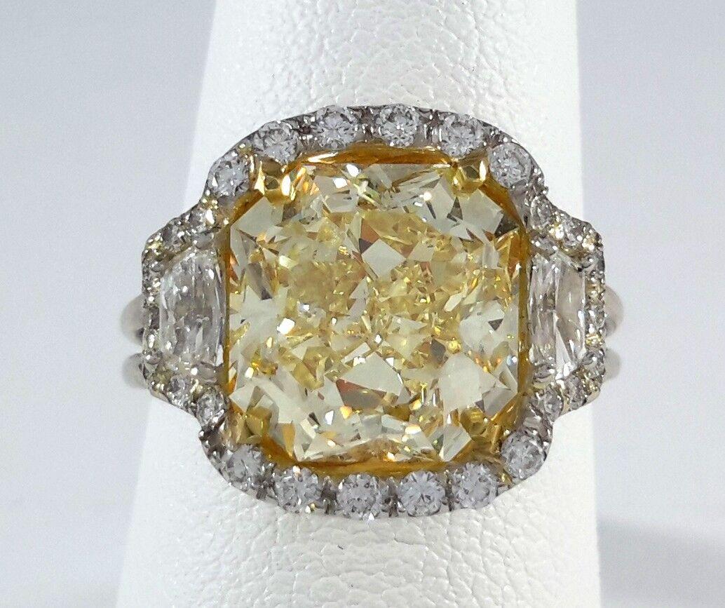(GIA Cert) 4.81ct Fancy Yellow DIAMOND on PLATINUM Ring - R8093