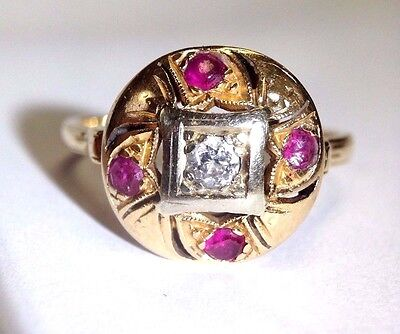 Art Deco 14K Yellow Gold Ruby and Diamond Ring Size 10