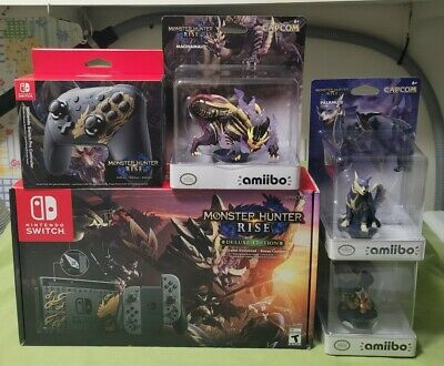 Nintendo Switch Monster Hunter Rise Deluxe Edition Console Pro Controller Amiibo