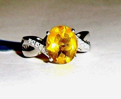 (Canary Yellow Fluorite Oval Solitaire & W Topaz Ring, 925, Sizes 7 & 8, 4.24(TCW)