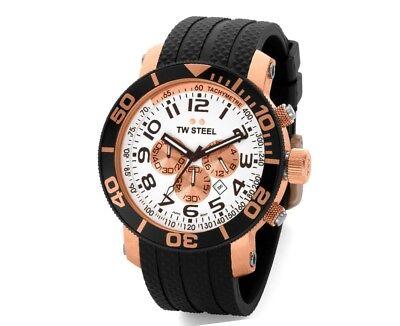 TW Steel TW76 Men's Grandeur Diver Chronograph 45mm Rose-Tone PVD Rubber Watch