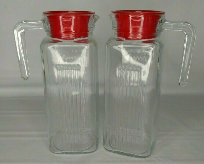 Vintage Glass Pasabahce Carafe/Pitcher w/ Red Lids, Set of 2
