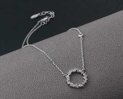 Chain Pave Ring - Pave Cubic Zirconia 925 Sterling Silver Ring Halo Pendant Chain Necklace