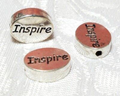 Inspirational 2 Hole (2PCS. INSPIRE Word FINE PEWTER Oval DISC BEAD - 11mm L x 9mm W x 3mm D Hole)