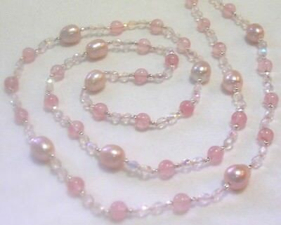 "34"" HAND KNOTTED PINK PEARLS & CHERRY QUARTZ BEADED NECKLACE EARRING SET PRETTY"