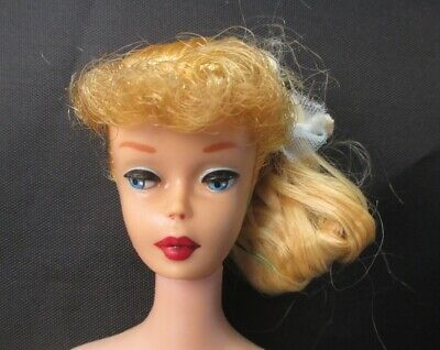 Vintage #5 Blonde Ponytail Barbie Doll Restore Shiny Face Green Ear Nice Paint